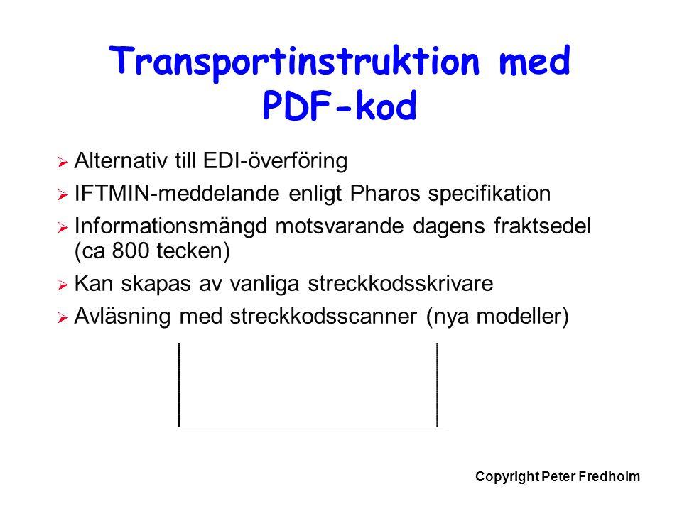 Transportinstruktion med PDF-kod