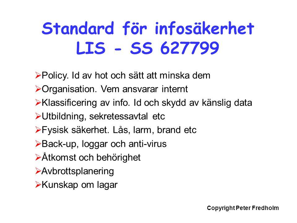 Standard för infosäkerhet LIS - SS 627799