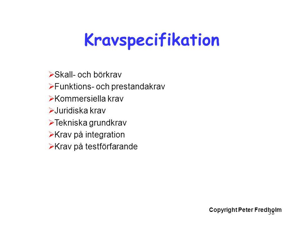 Kravspecifikation Skall- och börkrav Funktions- och prestandakrav