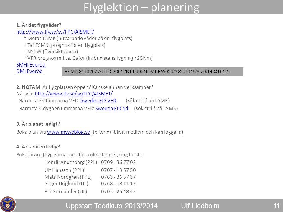 Flyglektion – planering