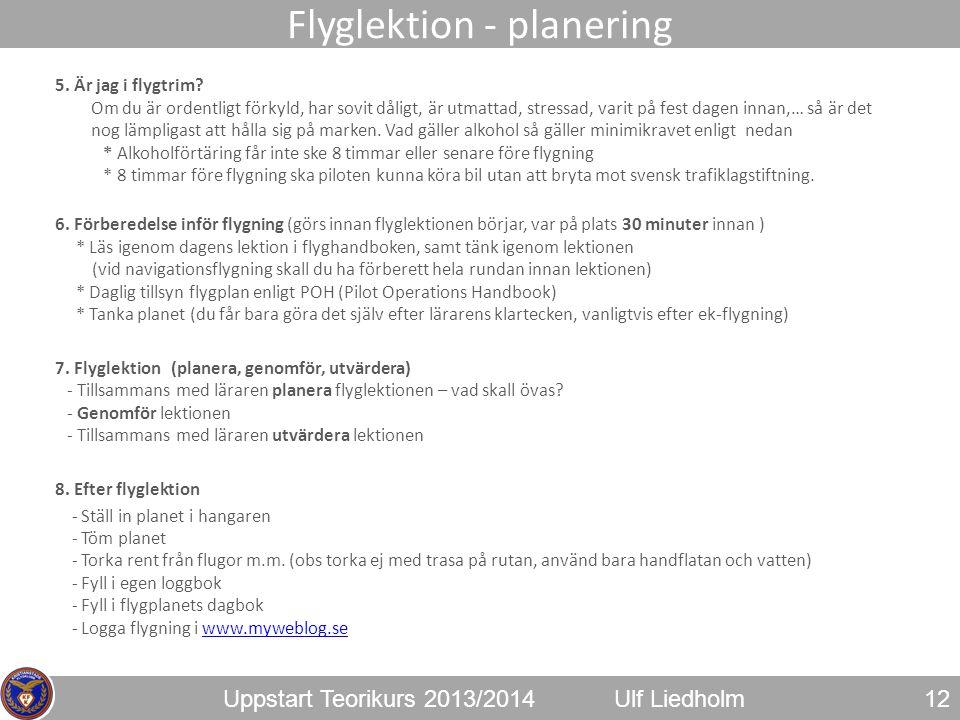 Flyglektion - planering