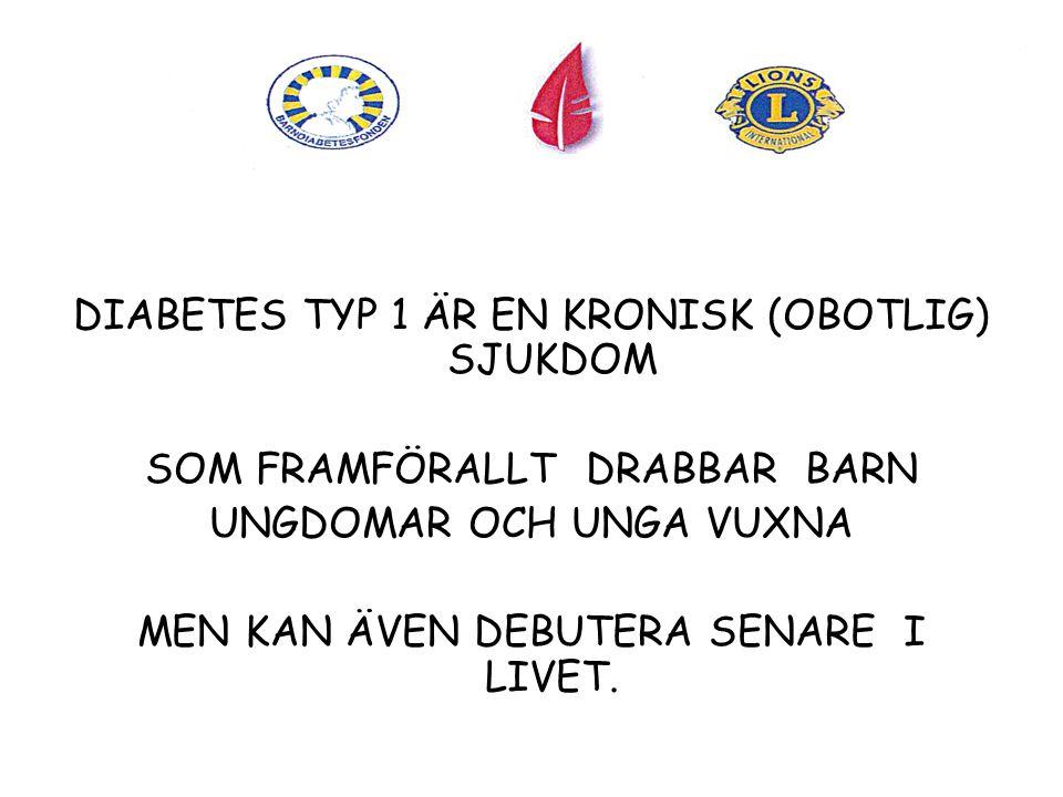 DIABETES TYP 1 ÄR EN KRONISK (OBOTLIG) SJUKDOM
