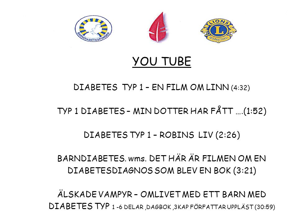 YOU TUBE DIABETES TYP 1 – EN FILM OM LINN (4:32)