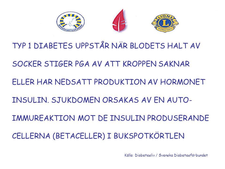 TYP 1 DIABETES UPPSTÅR NÄR BLODETS HALT AV