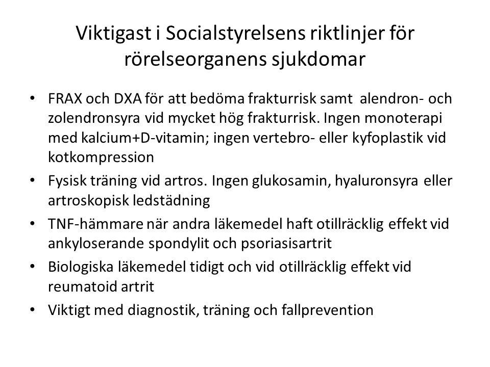 Viktigast i Socialstyrelsens riktlinjer för rörelseorganens sjukdomar