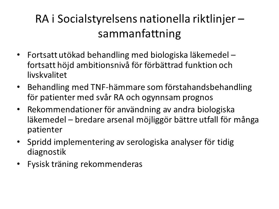 RA i Socialstyrelsens nationella riktlinjer – sammanfattning