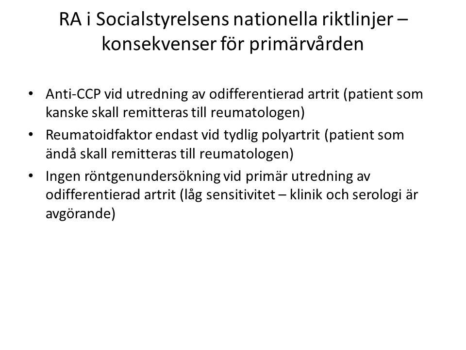 RA i Socialstyrelsens nationella riktlinjer – konsekvenser för primärvården