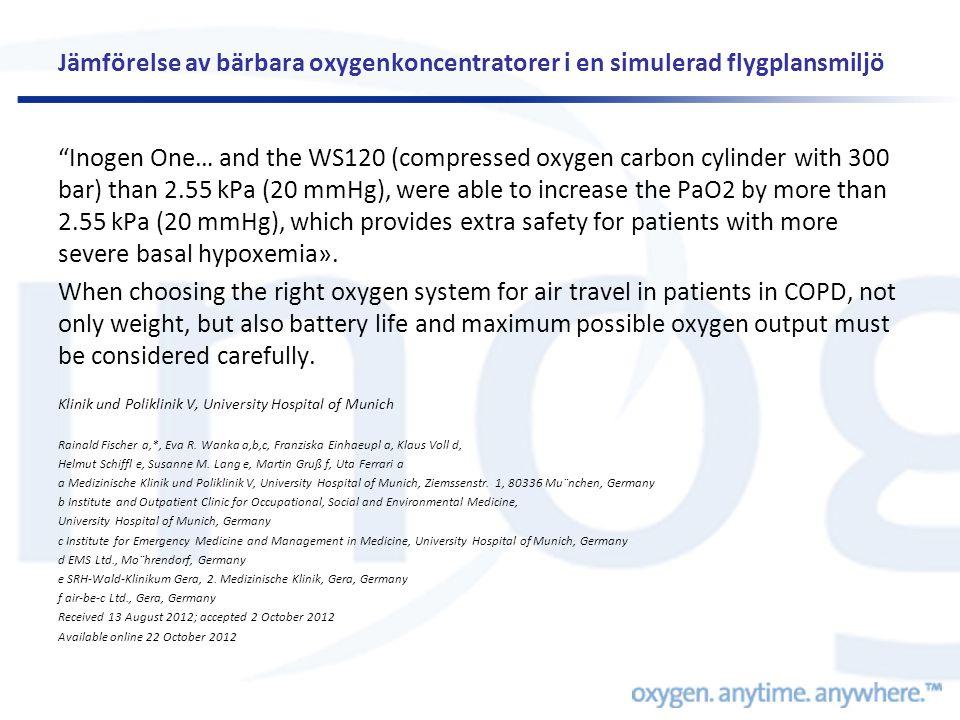 Jämförelse av bärbara oxygenkoncentratorer i en simulerad flygplansmiljö