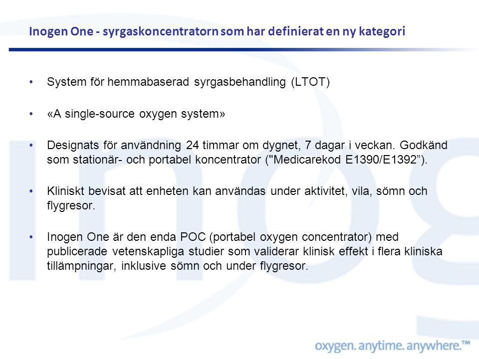 Inogen One - syrgaskoncentratorn som har definierat en ny kategori