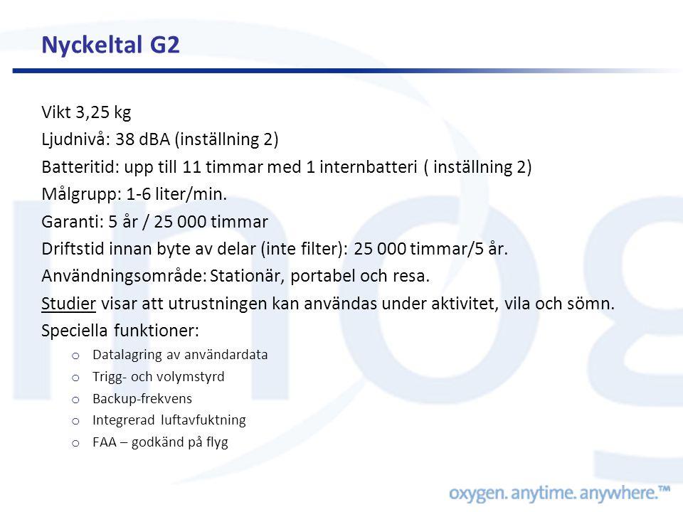 Nyckeltal G2 Vikt 3,25 kg Ljudnivå: 38 dBA (inställning 2)