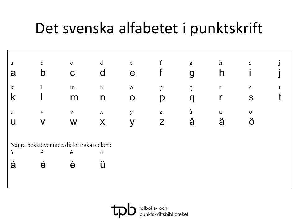 Det svenska alfabetet i punktskrift