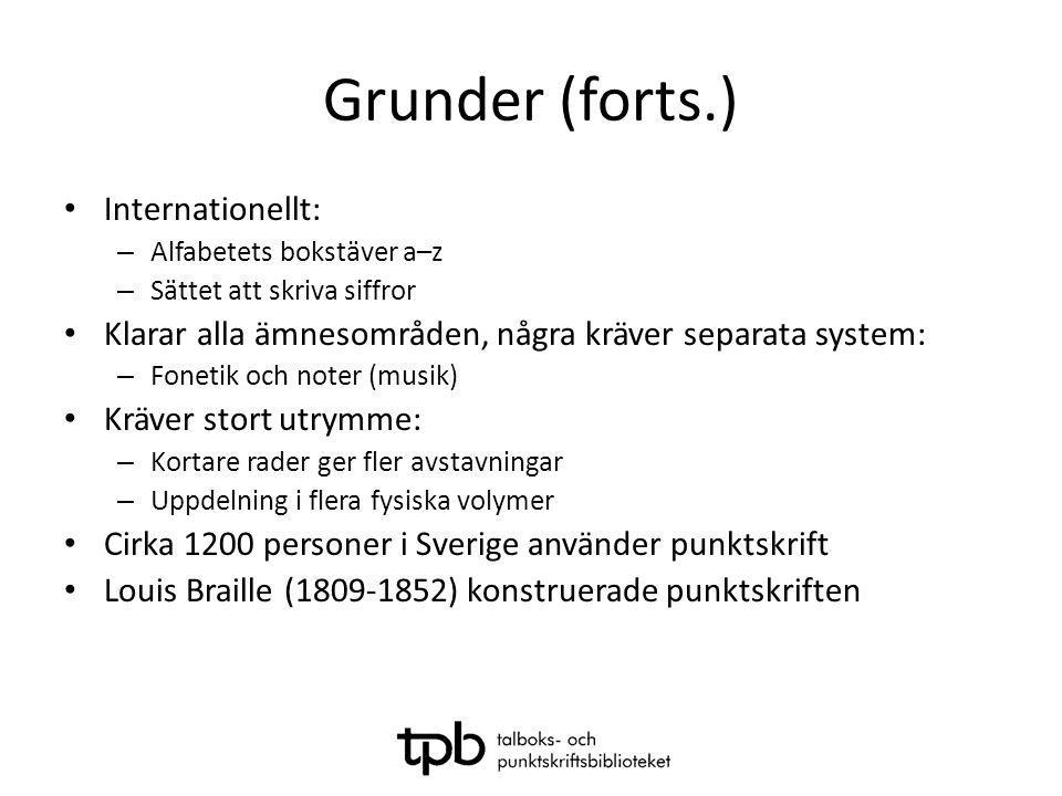 Grunder (forts.) Internationellt: