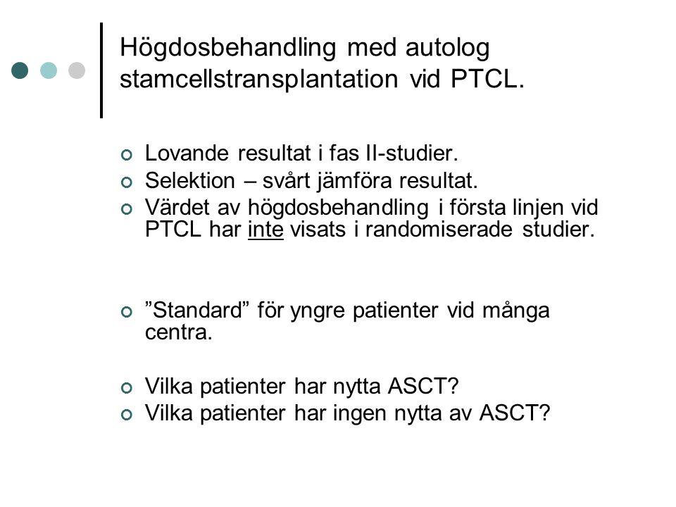Högdosbehandling med autolog stamcellstransplantation vid PTCL.