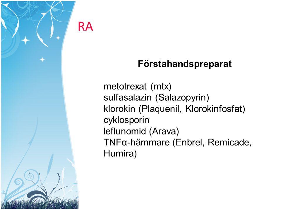 RA Förstahandspreparat metotrexat (mtx) sulfasalazin (Salazopyrin)