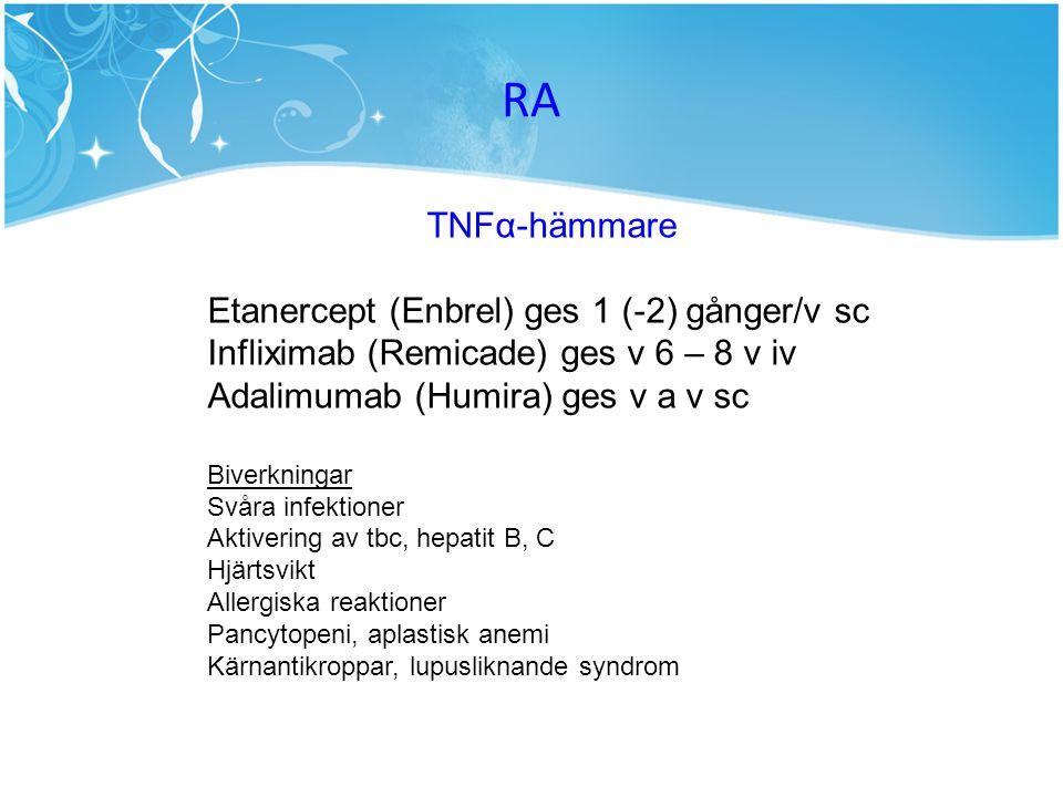 RA TNFα-hämmare Etanercept (Enbrel) ges 1 (-2) gånger/v sc