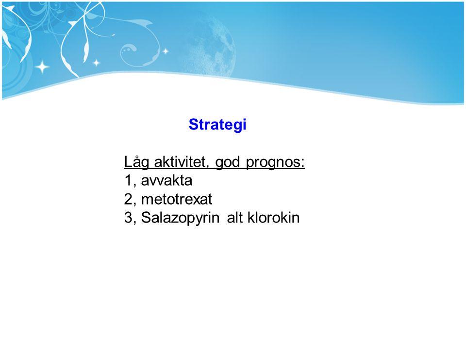 Strategi Låg aktivitet, god prognos: 1, avvakta 2, metotrexat 3, Salazopyrin alt klorokin