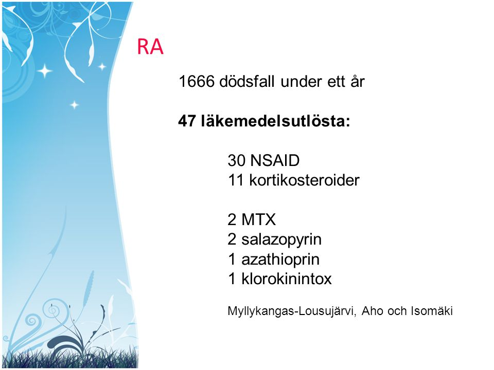 RA 1666 dödsfall under ett år 47 läkemedelsutlösta: 30 NSAID