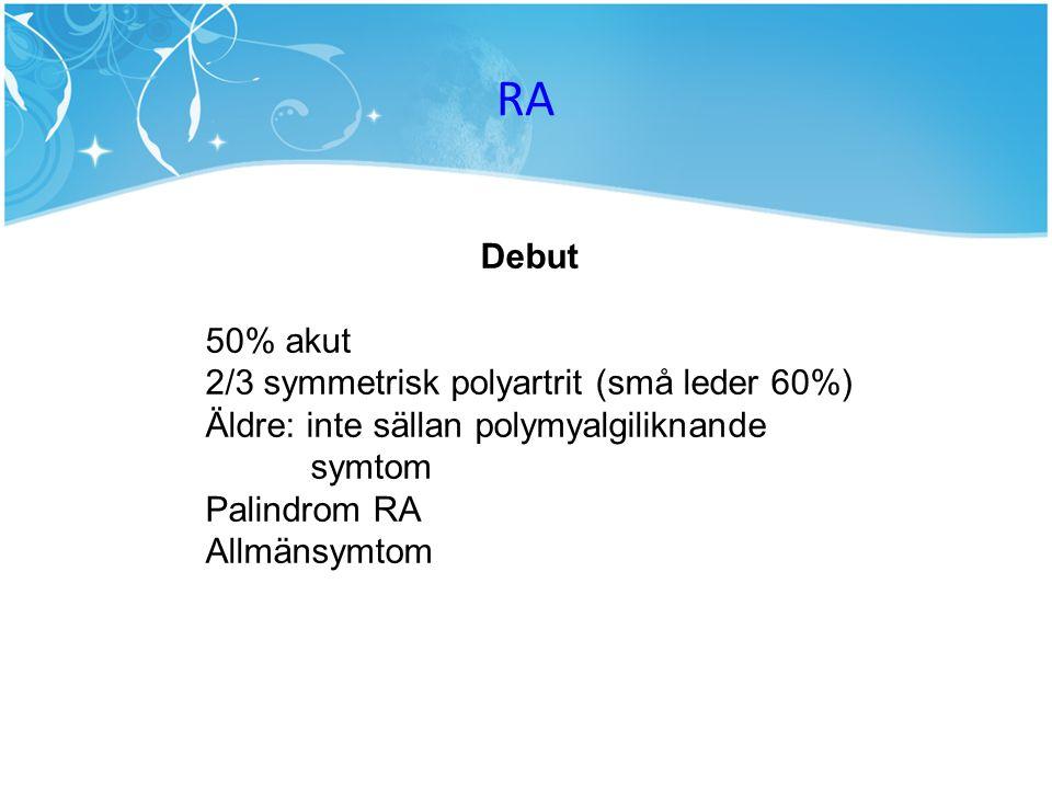 RA Debut 50% akut 2/3 symmetrisk polyartrit (små leder 60%)