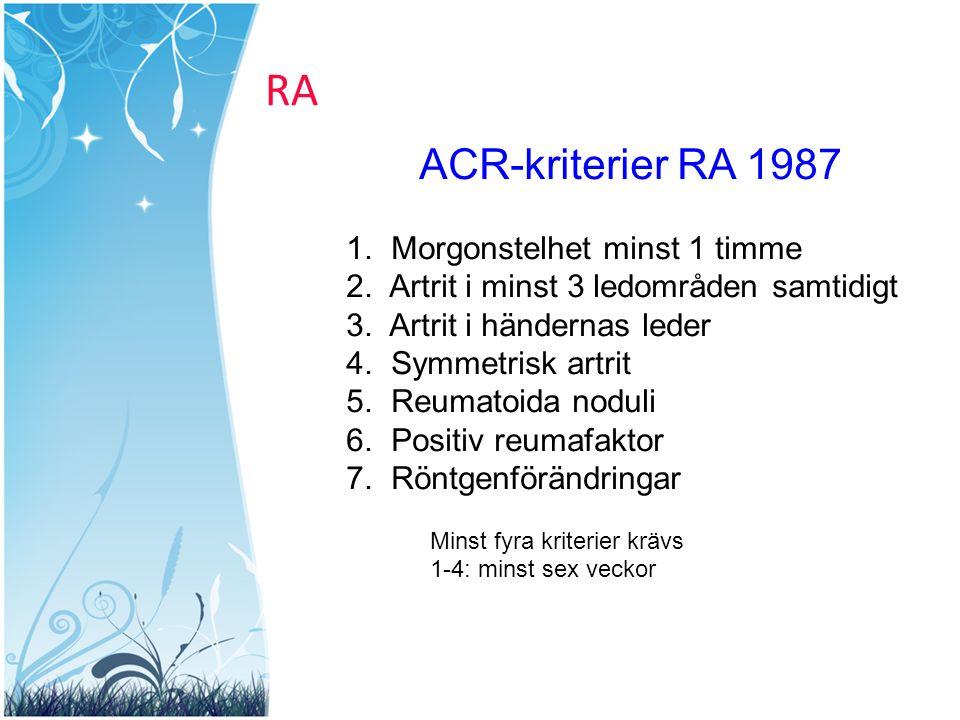 RA ACR-kriterier RA 1987 Morgonstelhet minst 1 timme