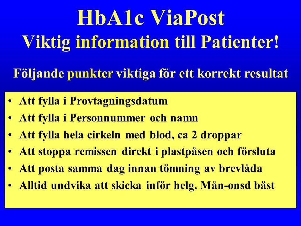 HbA1c ViaPost Viktig information till Patienter!