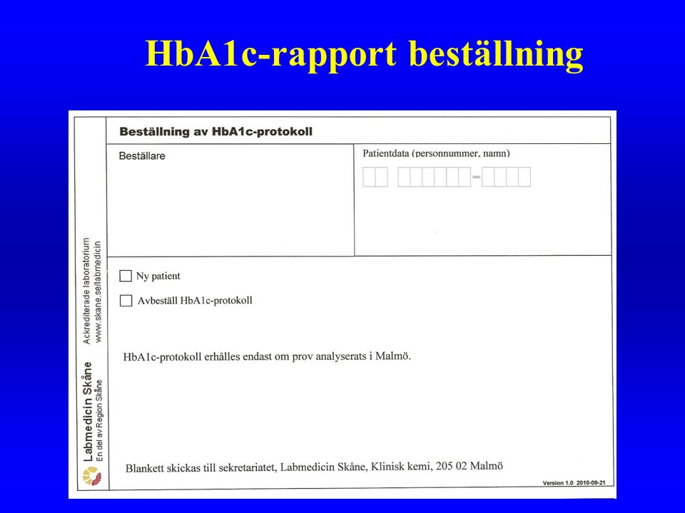 HbA1c-rapport beställning