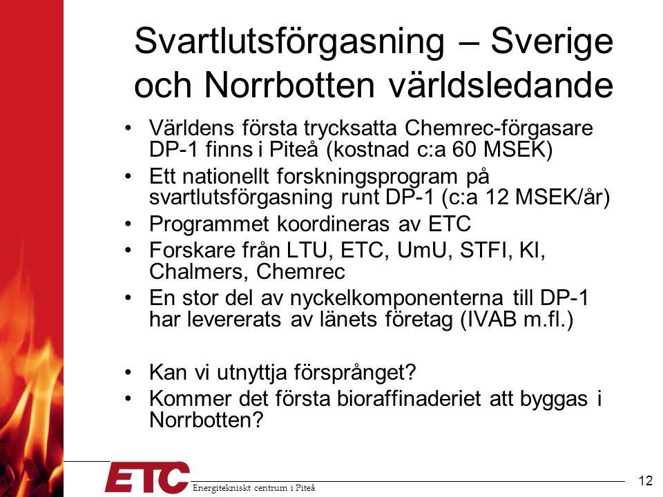 Svartlutsförgasning – Sverige och Norrbotten världsledande