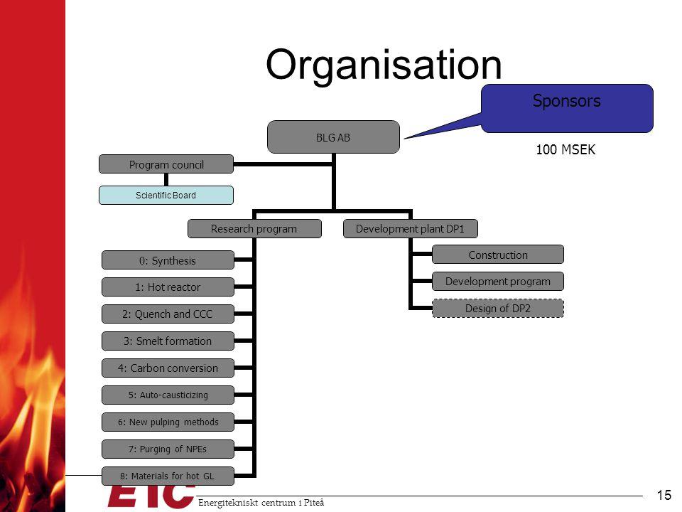 Organisation Sponsors 100 MSEK