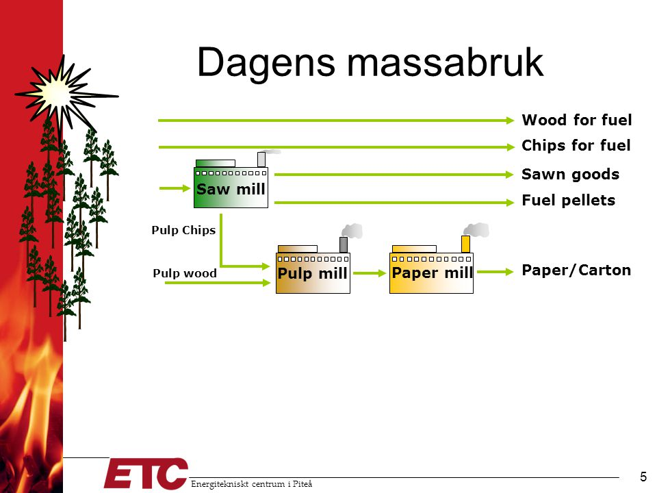 Dagens massabruk Wood for fuel Chips for fuel Sawn goods Saw mill
