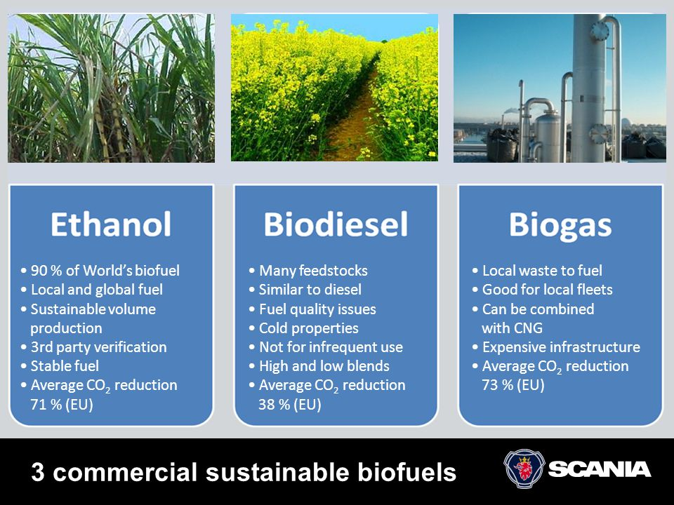 3 commercial sustainable biofuels