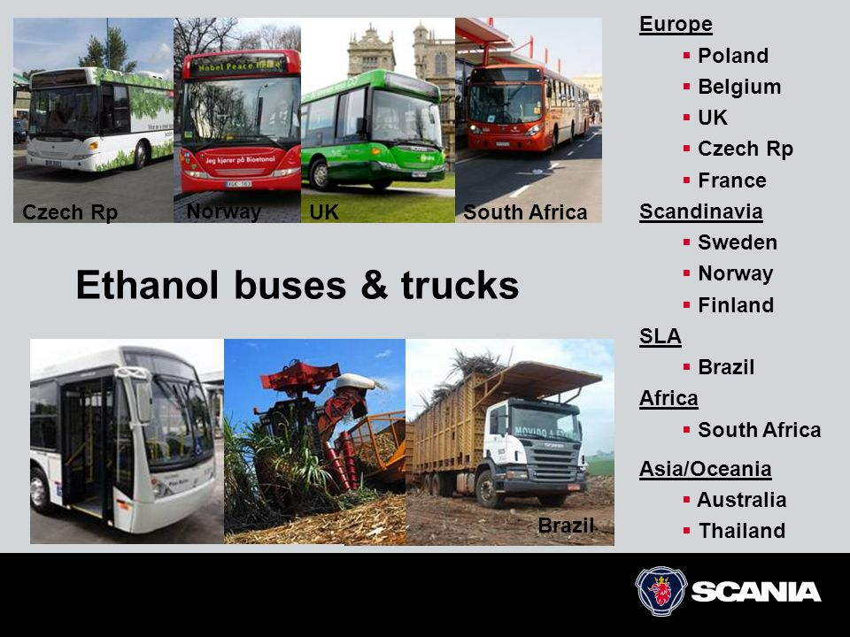 Ethanol buses & trucks Europe Poland Belgium UK Czech Rp France