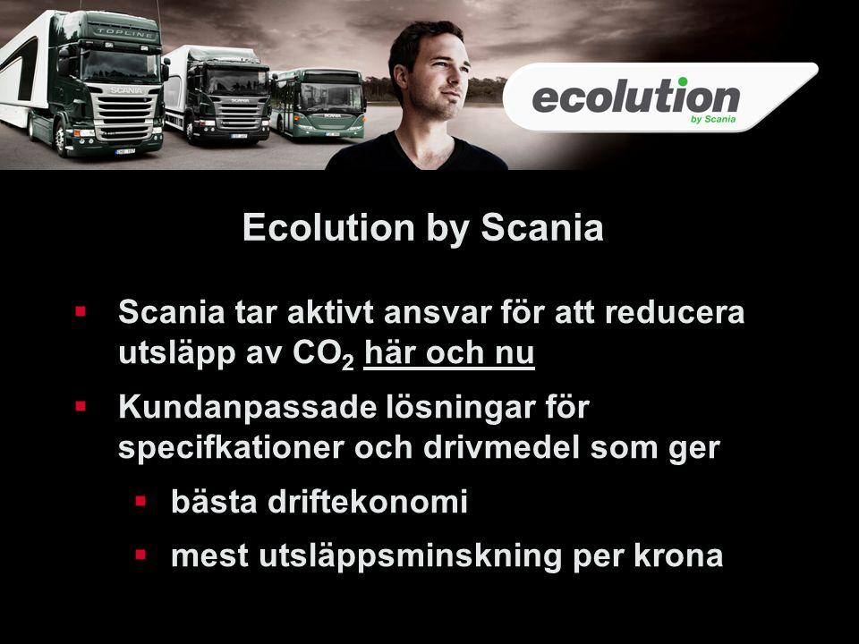 34 Ecolution by Scania. Scania tar aktivt ansvar för att reducera utsläpp av CO2 här och nu.