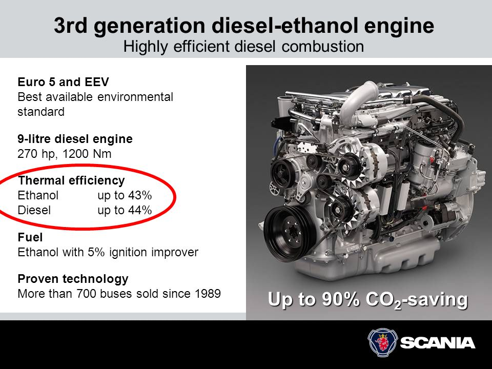 3rd generation diesel-ethanol engine Highly efficient diesel combustion