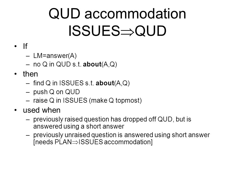 QUD accommodation ISSUESQUD