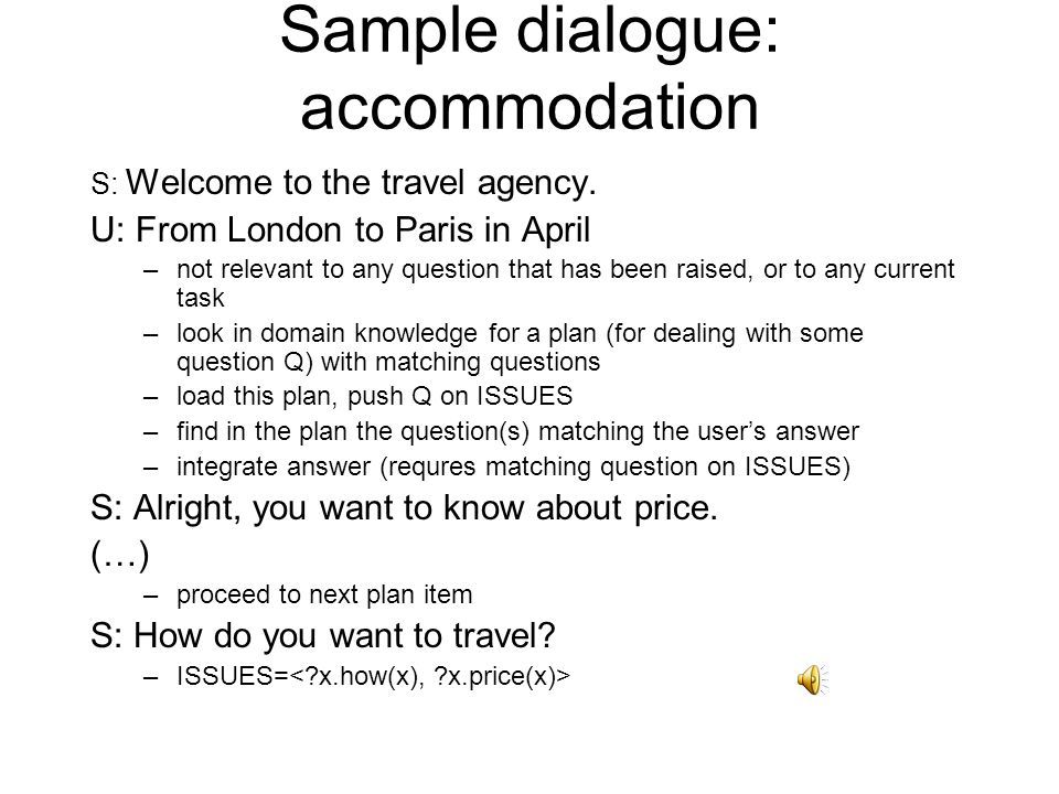 Sample dialogue: accommodation