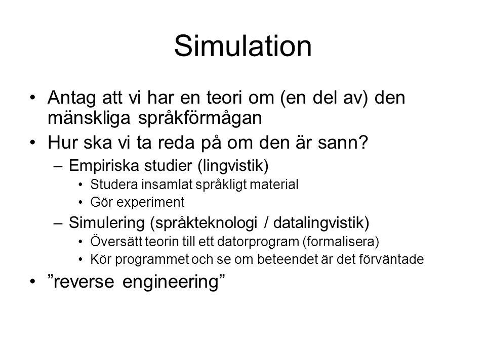 Simulation Antag att vi har en teori om (en del av) den mänskliga språkförmågan. Hur ska vi ta reda på om den är sann
