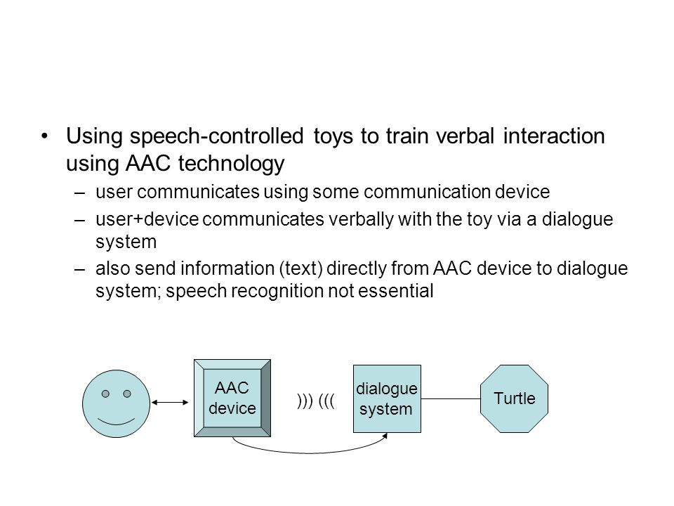 Using speech-controlled toys to train verbal interaction using AAC technology