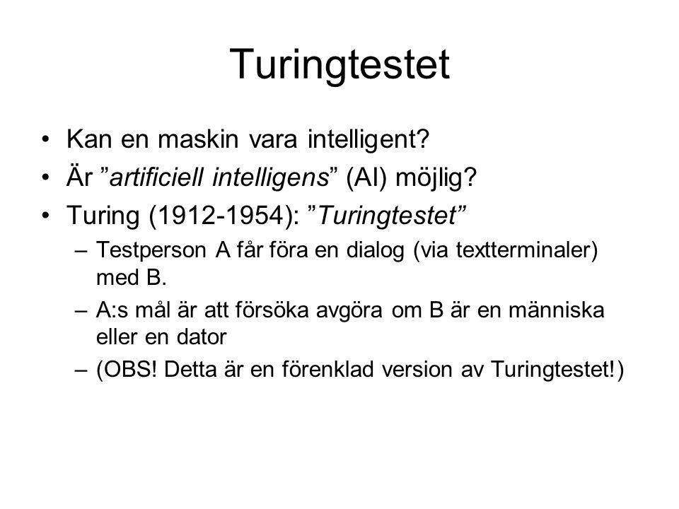 Turingtestet Kan en maskin vara intelligent