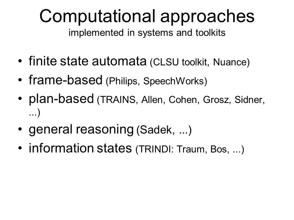 Computational approaches implemented in systems and toolkits