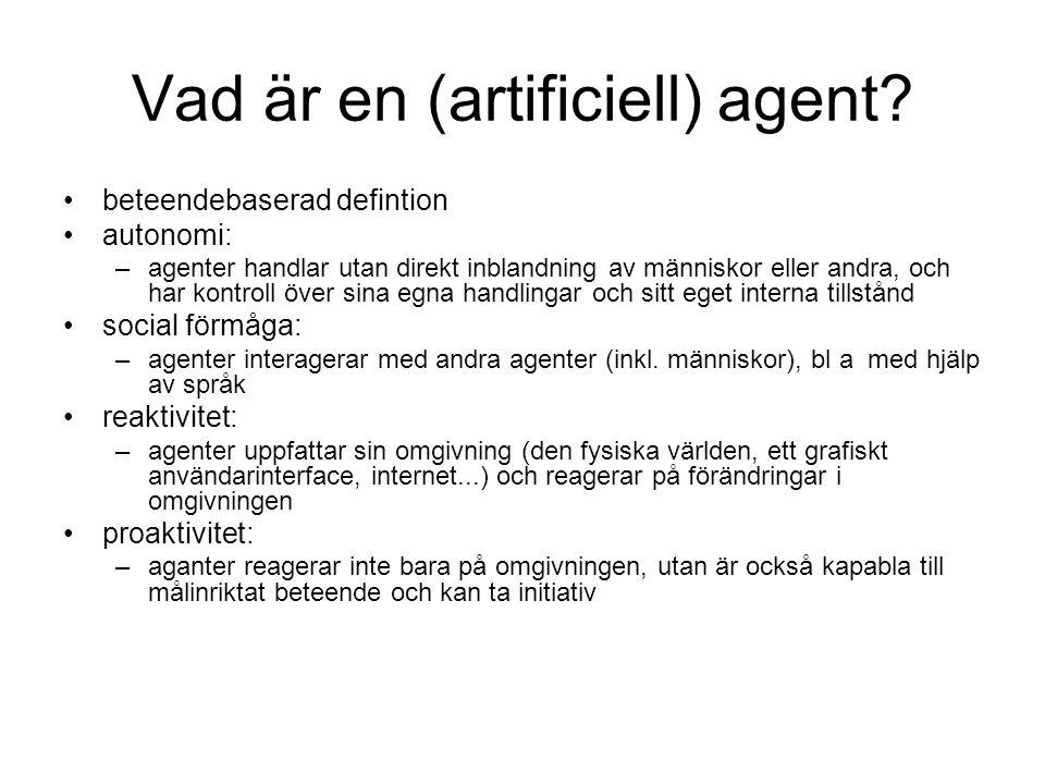 Vad är en (artificiell) agent
