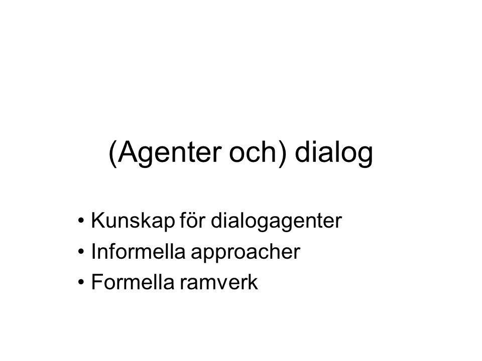 Kunskap för dialogagenter Informella approacher Formella ramverk
