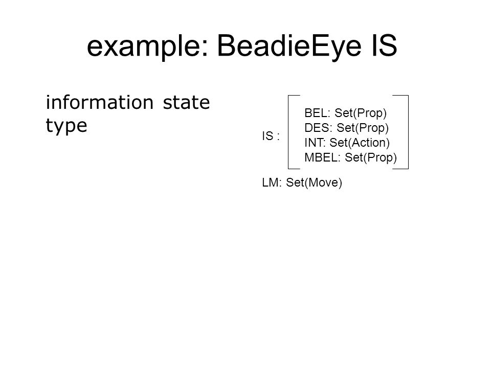example: BeadieEye IS information state type BEL: Set(Prop)