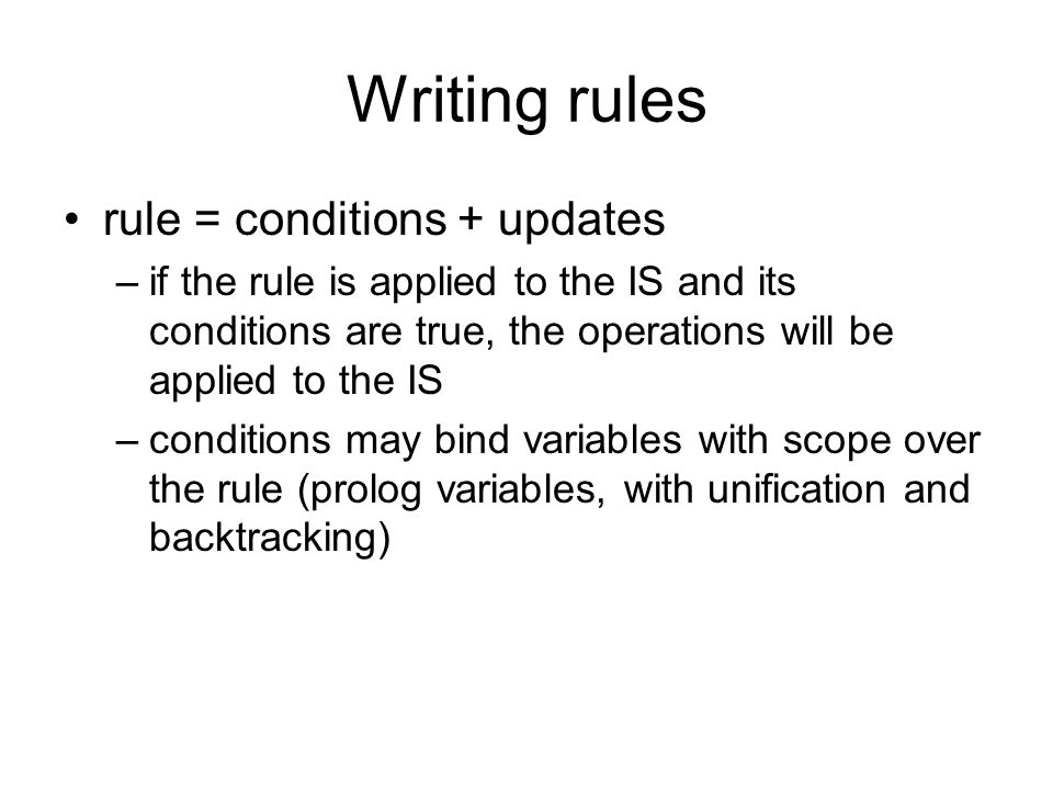 Writing rules rule = conditions + updates