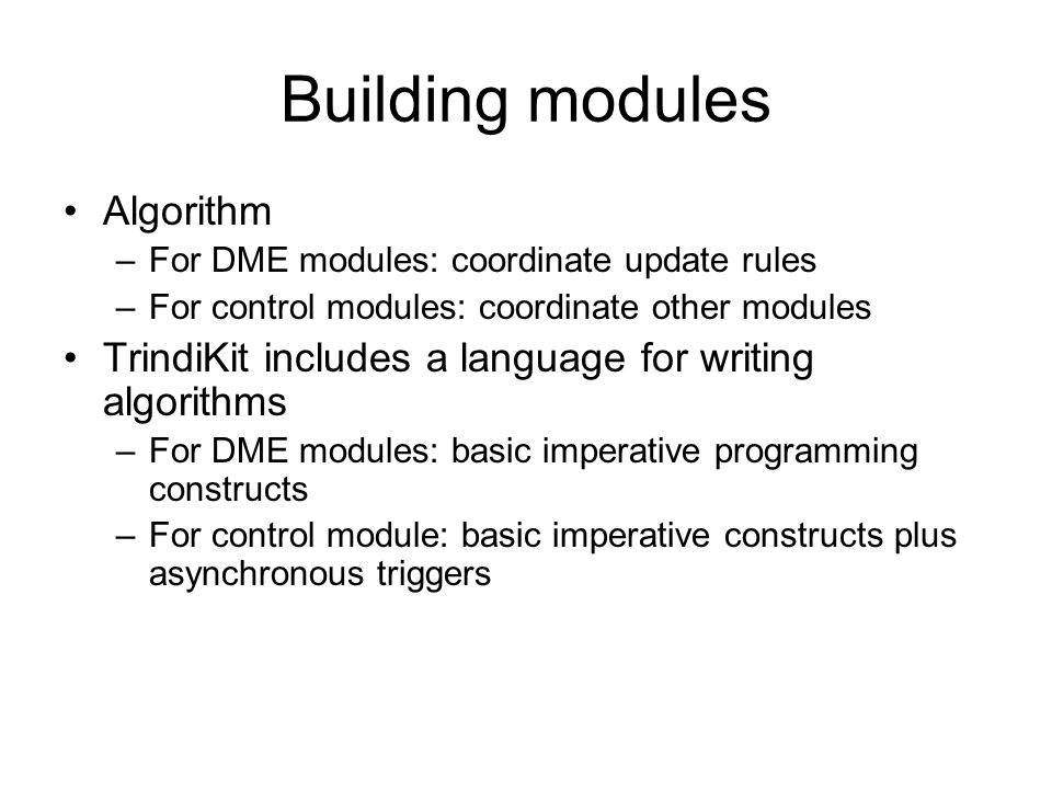Building modules Algorithm