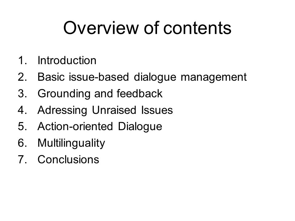 Overview of contents Introduction