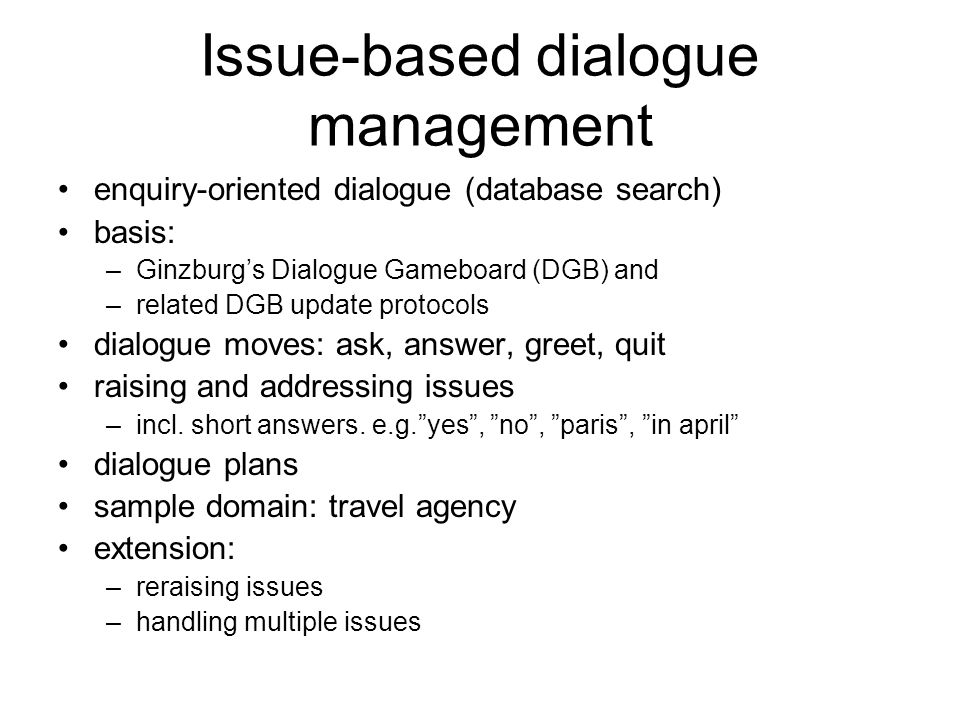 Issue-based dialogue management
