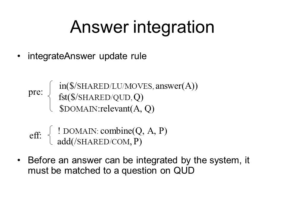 Answer integration integrateAnswer update rule
