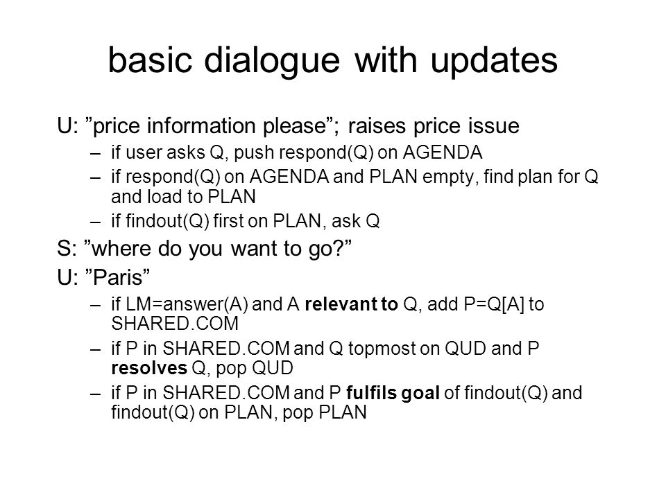 basic dialogue with updates