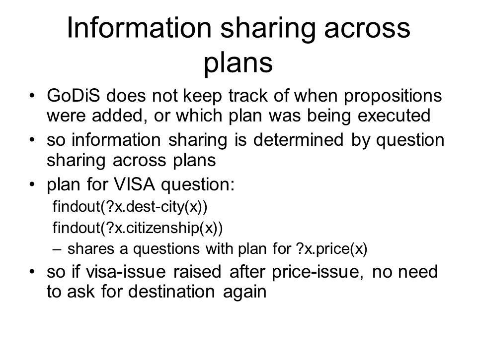 Information sharing across plans