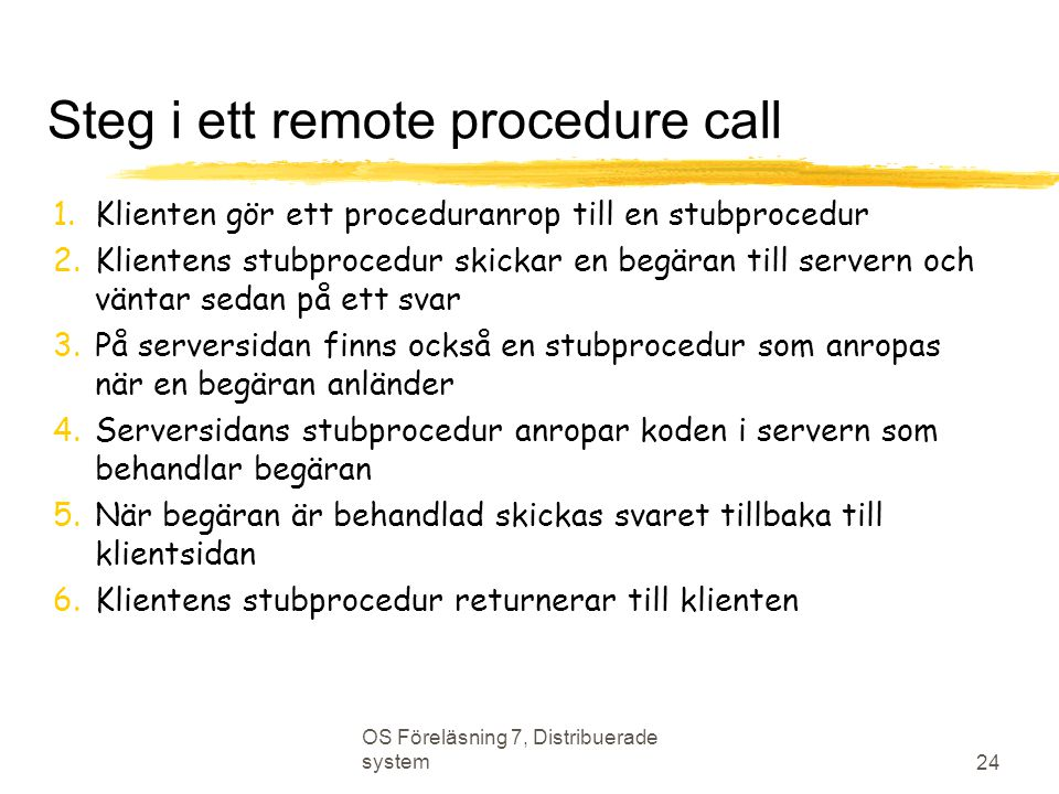 Steg i ett remote procedure call