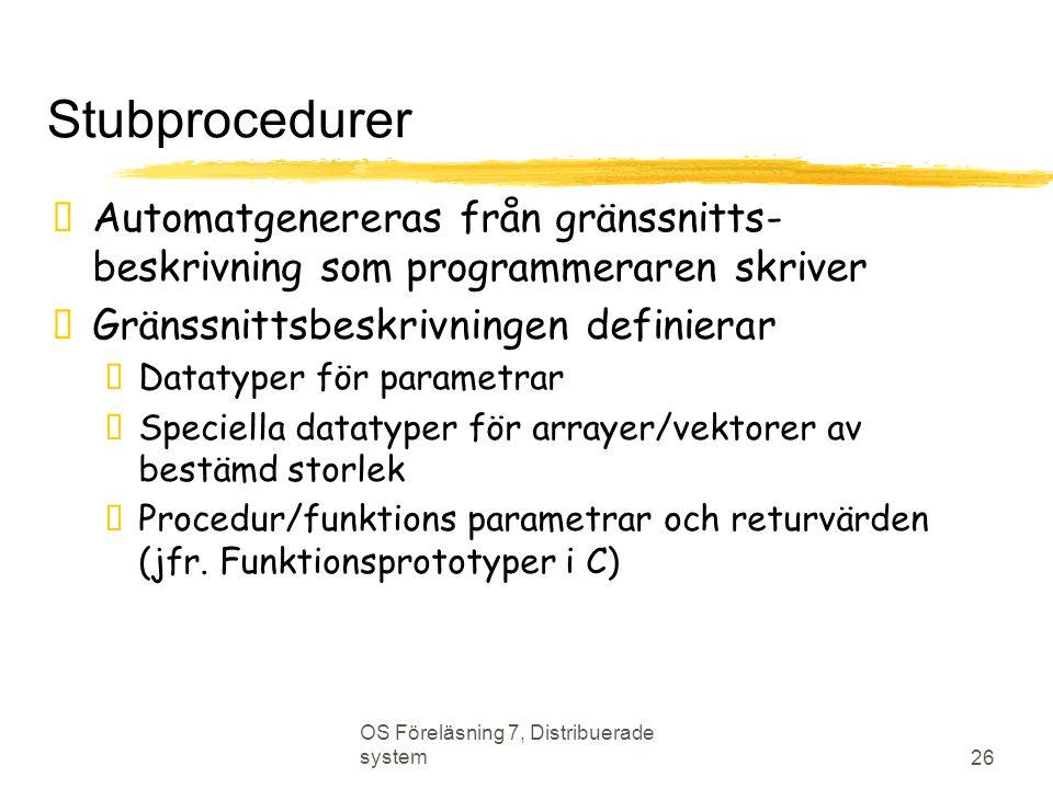 Stubprocedurer Automatgenereras från gränssnitts- beskrivning som programmeraren skriver. Gränssnittsbeskrivningen definierar.